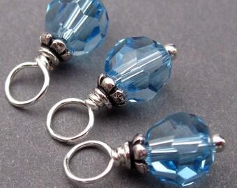 Aquamarine Blue Swarovski Crystal Birthstone Charms, 6mm Swarovski Crystal Beads, Stitch Markers, Crystal Dangles, March Birthstone