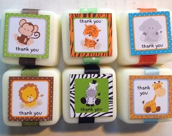 Custom Soap Jungle Zoo Safari Baby Shower Favors - 24 favors with custom labels and ribbon FREE SHIP
