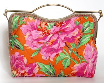 10.7'' Clutch Bag, Handbag, Kisslock - Peony Orange