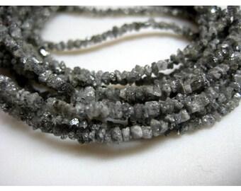 Rough Diamonds - Sparkling Grey Rough Diamond Beads - Natural Raw Uncut Diamond Beads - 2mm To 3mm - 16 Inch Strand