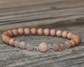 Rosewood, Sunstone, Mala Bracelet, Meditation Bracelet, Gemstone Therapy, Crystal Healing, Yoga Bracelet, Delicate, Chakra Bracelet, Luck