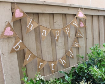 happy birthday heart burlap banner