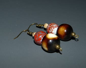 Natural wood beads & glass Earrings