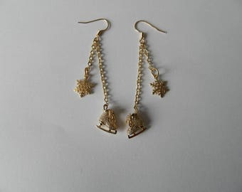 Earrings for gold snowflake and ice skates