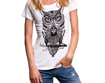 Womens Owl T-shirt white / black print - Vintage Graphic Tee Shirt Hipster Swag S/M/L