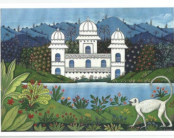 Indian palace and monkey. Fine art card