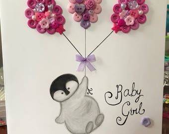 Baby girl/birthday greeting card and keepsake