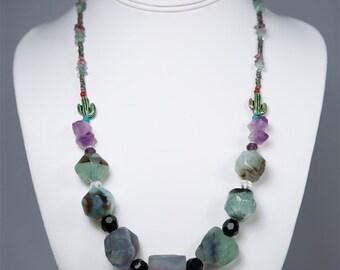The Oasis, Fluorite Gemstone Necklace by La Miré New York
