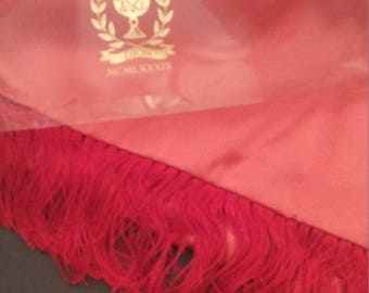 Vintage 100 % Authentic Red Silk Scarf
