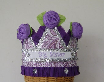 BIG SISTER Crown, Big Sister Hat, Celebration Hat - New Baby Hat - Baby shower Hat, Customize