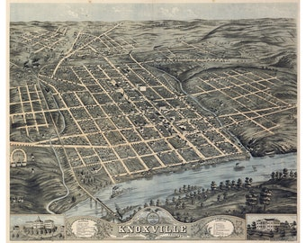 Map of Knoxville, Tennessee by Ruger; 1871; Antique Birdseye Map
