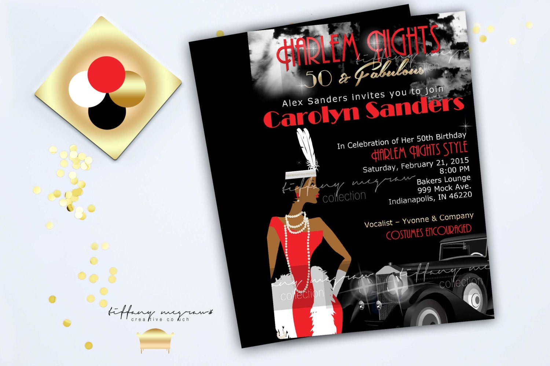 A Fabulous Harlem Night African American Invitation Black Satin Background
