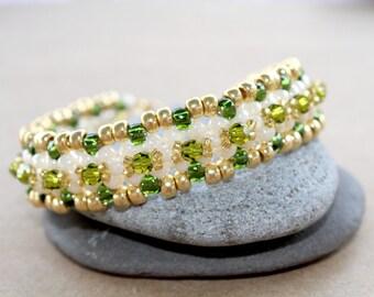 Olivine Swarovski Crystal and Seed Bead Bracelet
