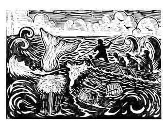 The Hunt - Woodcut print