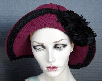Cranberry Red Cotton Crochet Flapper Hat On Sale