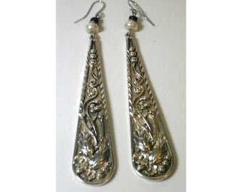 Vintage Long Silver Drop Earrings with Pearls and Floral Design