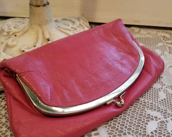 Pink Leather Foldout Clutch with Gold Metal Trim and Closure