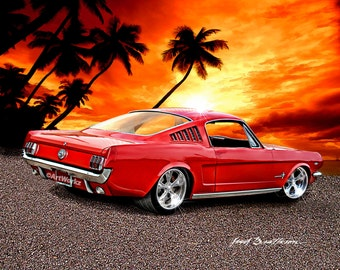 Hot Rod Art - 1965 Ford Mustang Fastback - Classic Car - Sports Car - 8x10 Print w/ 11 x 14 Mat-A75