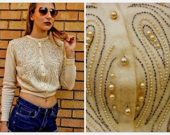 Vintage OLDER 40s/50s BEADED CARDIGAN short crop Sweater - 1940s/1950s (Ex Small - Small)