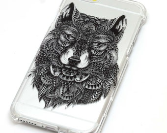 Wolf Fox Feathers Black Mandala Henna Transparent Clear Phone Case iPhone 6, 7, SE, 6 Plus, 7 Plus, 6S, 5, 5S, Galaxy S6, S7, Note 5, Note 7