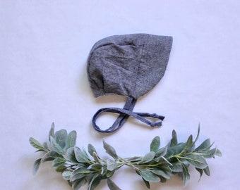 Denim blue linen brimmed bonnet
