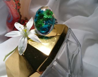 Original blue/green duo ring gift