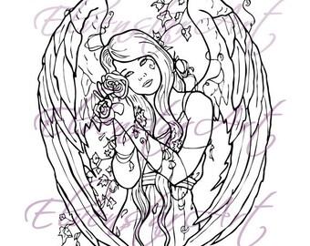 DIGI Stamp Printable Scrapbooking Card Making Crafts Fantasy Gothic Angel Withering Flowers Ivy Wings Roses Digital Stamp Download Coloring