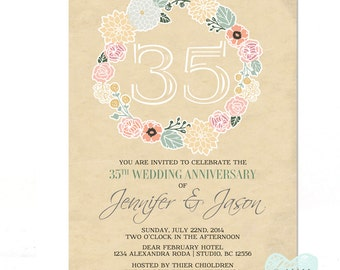 Wedding Anniversary Invitation - Vintage Beige Backgraound - Rustic Backyard Summer Typography - Printable No.74