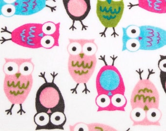 Owl Minky Fabric by the Yard Fuchsia Owls Shannon Fabrics One Yard or More Baby Girl Minky Cuddle Fabric Pink Owl