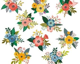 Flower Clipart, Rose Clipart, Flower Clip Art, Rose Clip Art, Digital Flowers, Commercial Use, Printable