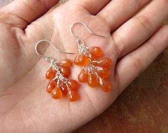 Carnelian Cluster Earrings, Sterling Silver Earrings, Natural Gemstone Jewelry, Orange Dangle Earrings