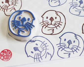 baby sea otter rubber stamp | marine animal | diy summer baby shower birthday scrapbooking | gift for kids | hand carved by talktothesun