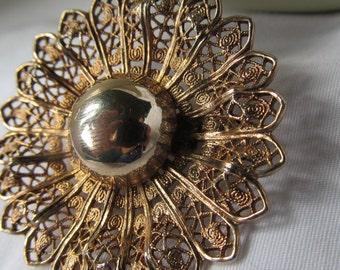 Flower Power Mid Century Brooch Filigree Gold Brooch Rose Gold Filigree Art Deco Jewelry Mad Men Jewelry Gold filigree brooch