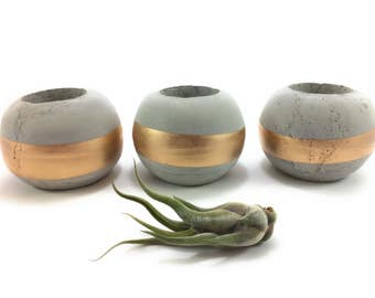 Orb Concrete Succulent Planters/Air Plant Planters. (Set of 3). GOLD.  FREE SHIPPING! Ready To Ship!