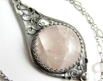 Her Majesty Marguerite Necklace - Natural Pink Morganite, Rose Quartz in Sterling Silver Filigree