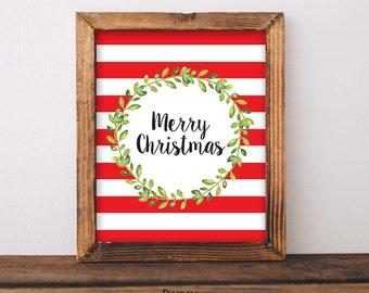 Merry Christmas Sign, Mantel Decor, Holiday Print, Christmas Decoration, Christmas Wall Art, Christmas Party Printable, Christmas Home Decor