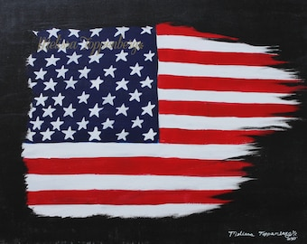 ORIGINAL 4th Of July / Independence Day Flag Painting, Christmas Gift