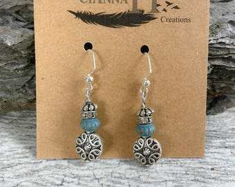 Boho/western Jewelry Silver & turquoise dangle drop earrings with rhinestones beads hypoallergenic