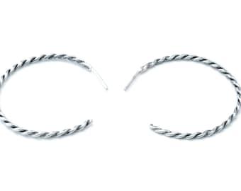 Twisted Hoop Post Earrings, Sterling Silver, Hand Made, Soldered