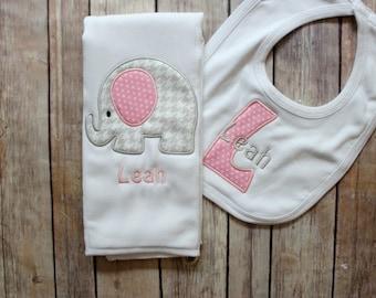 Baby Girl Elephant Burp Cloth Set - Monogrammed Elephant Burp Cloth and Bib - Chevron Elephant Baby Gift - Personalized Baby Girl Gift