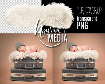 Newborn, Baby, Toddler, Child, White Fur Transparent PNG Layer With Directions - Isolated Coverup Layer - Additonal File Needed