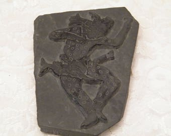 Jaguar Dancer Sculpture on Slate Rock, Vintage Hand Sculpted image of South American Mayan Diety artwork, fathers day gift