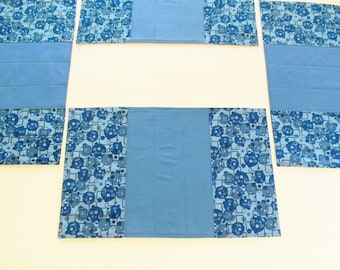 Quilted Placemats Blue Geometric Modern Home Decor Set of 4