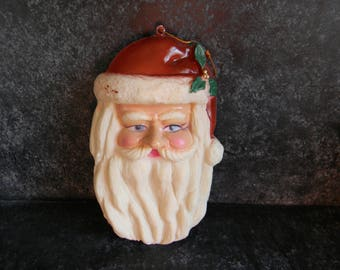 Vintage Santa Claus face Christmas tree ornament, holiday decor, gift ideas