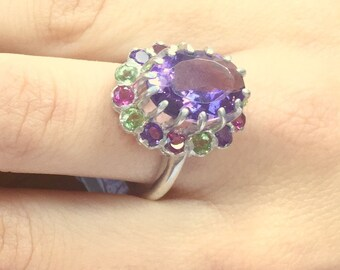 Amethyst Ring, Natural Amethyst, Natural Amethyst Ring, Peridot Ring, Solid Silver Ring, August Birthstone, February Birthstone, Diana Ring