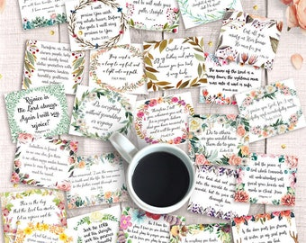 "45 Printable Bible Verse Cards, 3""x2.5"", Instant Download, Scripture Inspirational Hang Tags, Art Journal Collage Sheet, Bible Journaling"