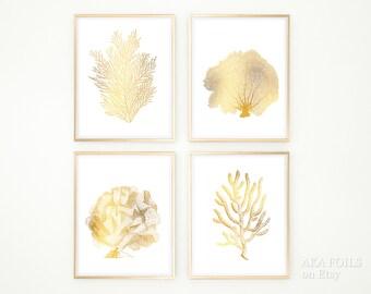 Gold Coral Reef Art - Print Set of 4 - Real Gold Foil Prints - Elegant Nautical Home Decor - Gold Coastal Art - Gold and White Wall Art