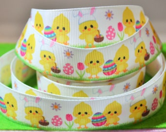 1M x Easter Chicken/Egg Grosgrain Ribbon - White - 20mm