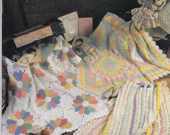 2000 Annie's Attic Pastels on Parade Crochet Baby Afghans Pattern Leaflet 879002 Six Designs