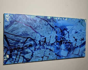 "Large original abstract painting ""Breakwall"" 15x30"